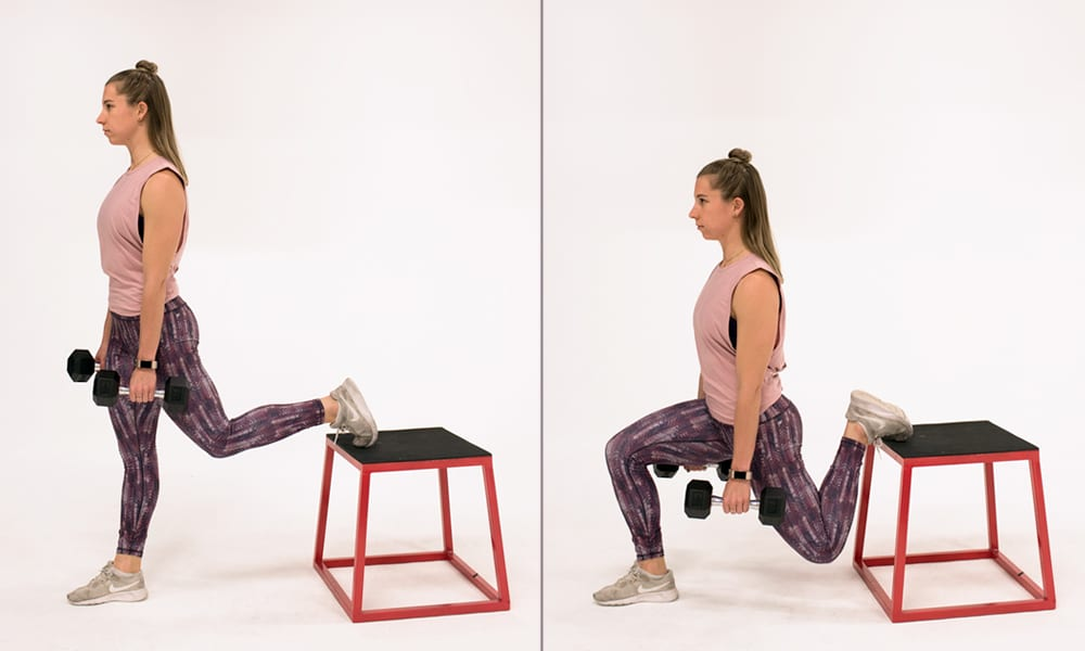 bulgarian split squat demonstration | quad sets