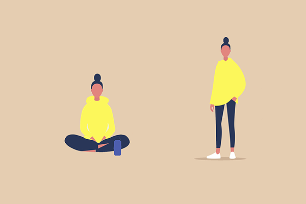 illustration of woman sitting and standing up | sit stand test