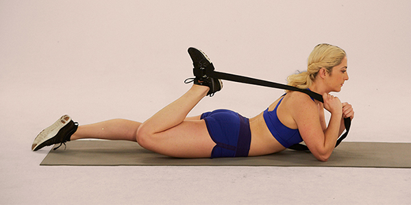 quad stretch with strap | lying quad stretch