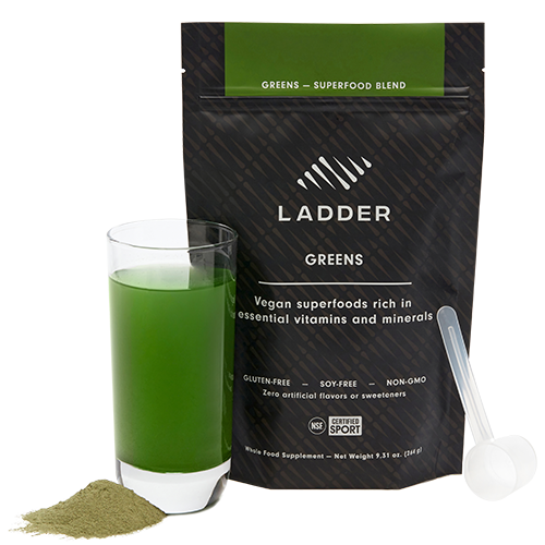 cup of ladder superfood greens next to packet | kelsey heenans rituals