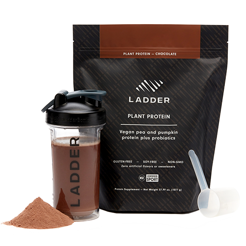 bottle of ladder plant protein next to packet | kelsey heenans rituals