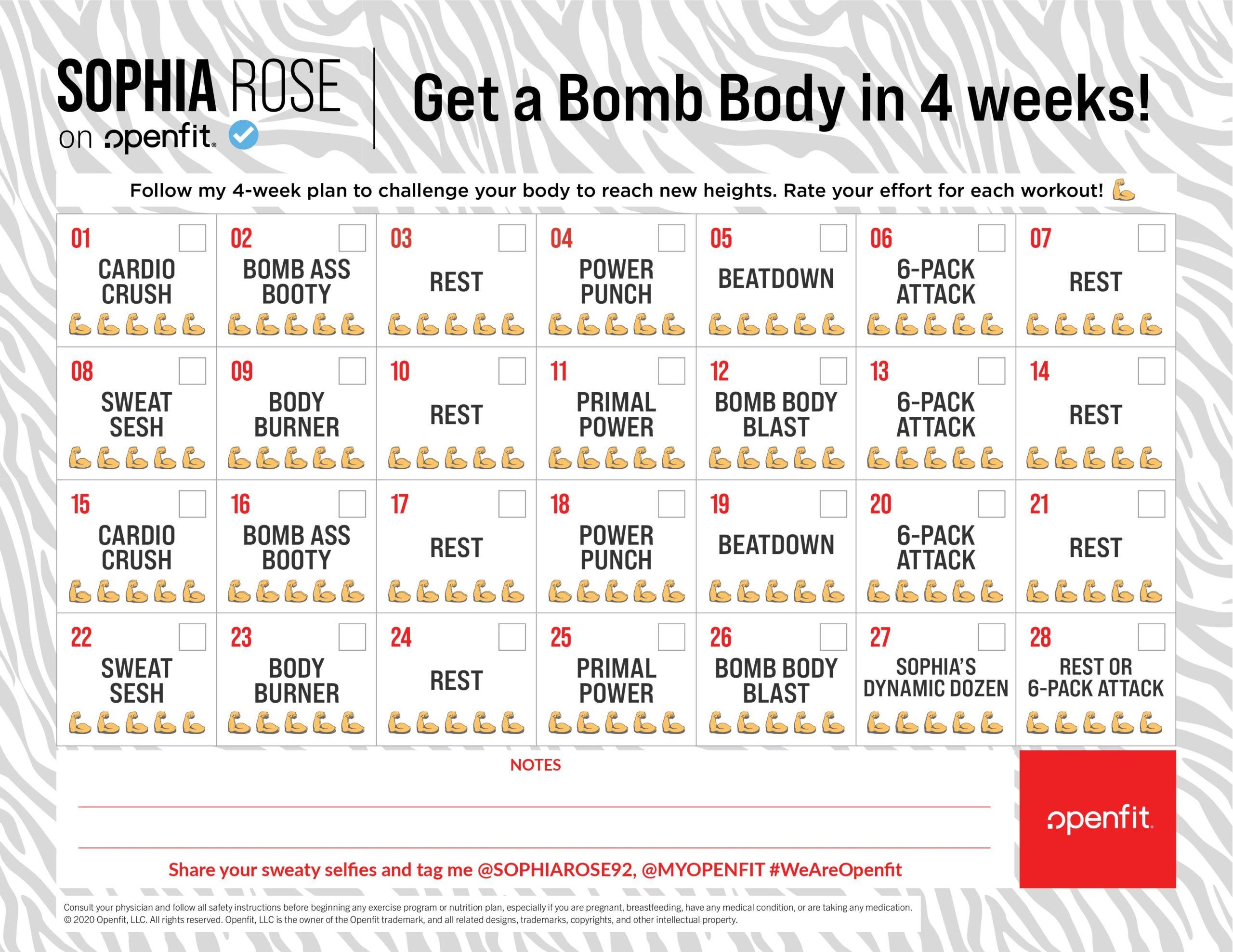 30-day sophia rose calendar | sophia rose openfit