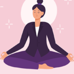 illustration of woman meditating | meditation quiz