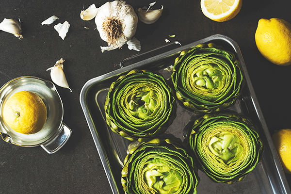 artichokes on baking tray | how to cook artichokes