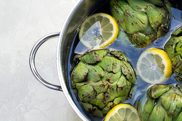 artichokes in water with lemon | how to cook artichokes