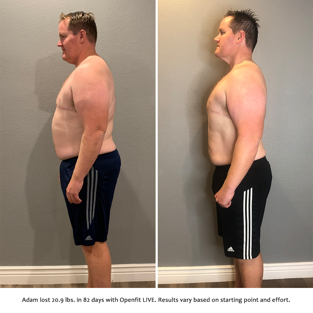 adam before and after   openfit live results