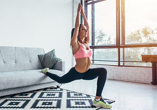 woman doing lunge stretch   stretching routine