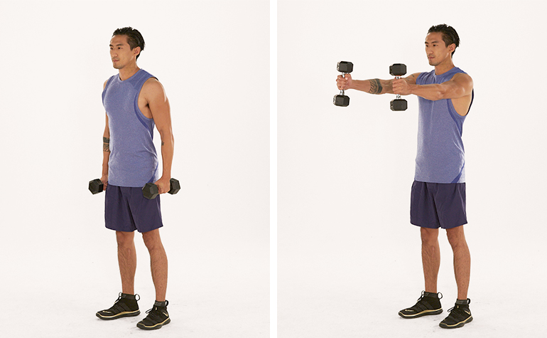 dumbbell front raise demonstration| arm workouts at home