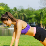 woman doing pilates push up outside | hilit