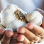 woman holding cloves of garlic | garlic benefits