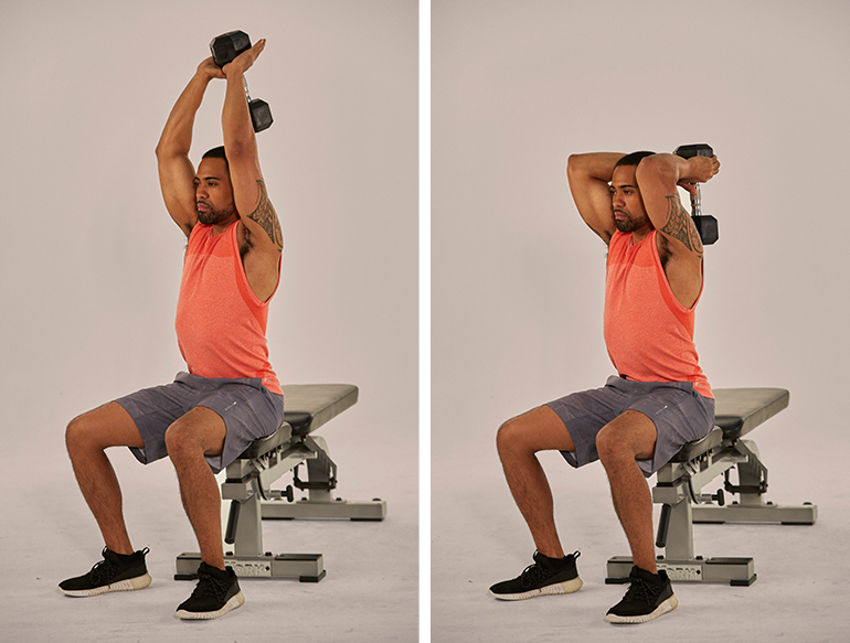 overhead dumbbell tricep extension | triceps workout at home