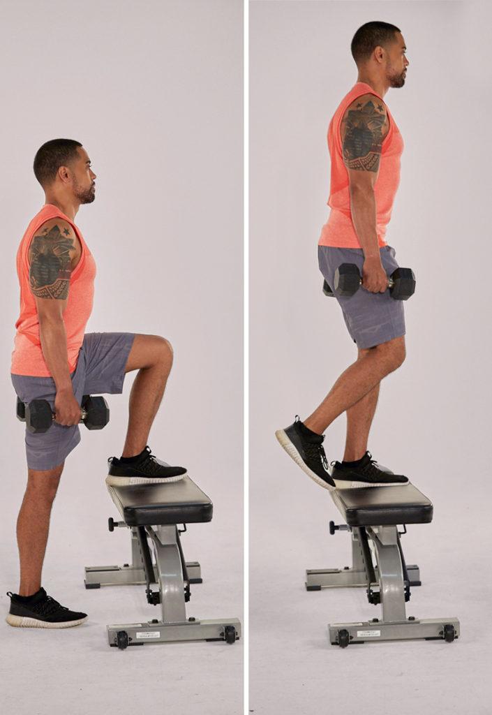 step up demonstration | bodyweight hamstring exercises