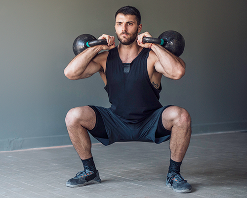 double front racked squat | kettlebell squats