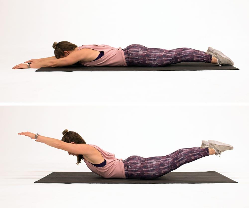superman exercise demonstration | bodyweight back exercises