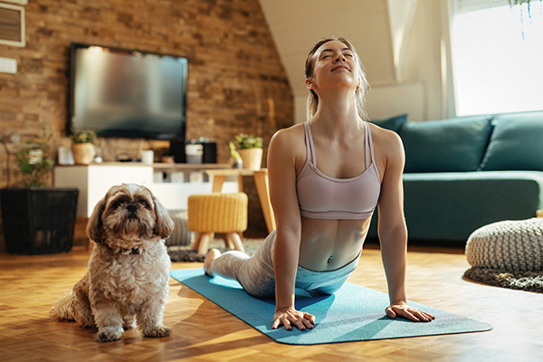 doing yoga with dog at home   active recovery