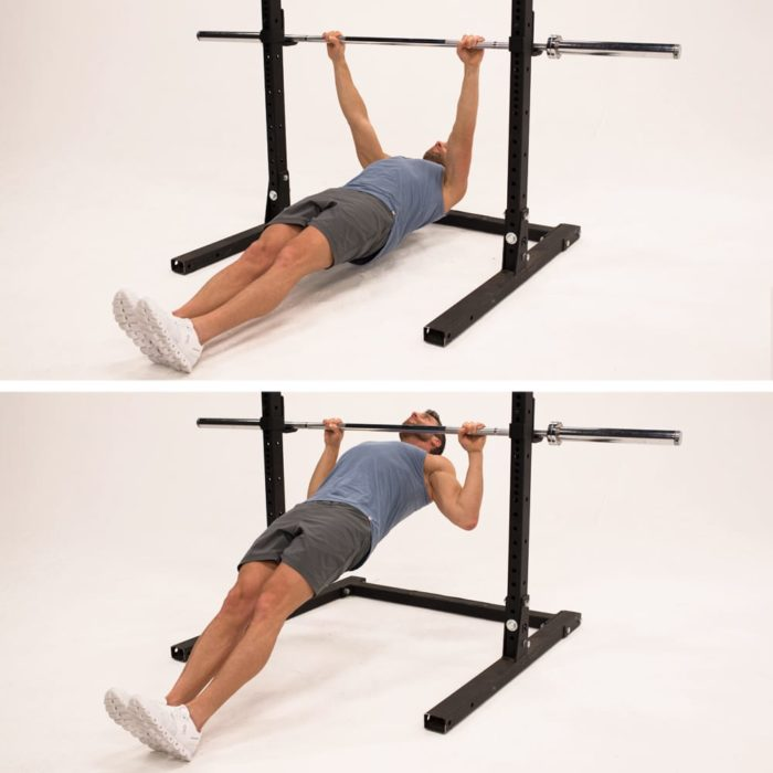 inverted row demonstration | bodyweight bicep exercises