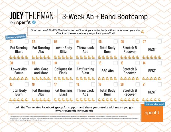Joey Thurman 3 week ab + band bootcamp calendar on Openfit