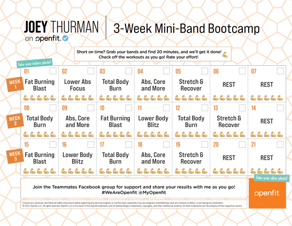 Joey Thurman 3 week mini band calendar on Openfit