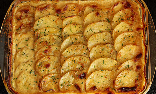 vegan scalloped potatoes recipe image | easter recipes