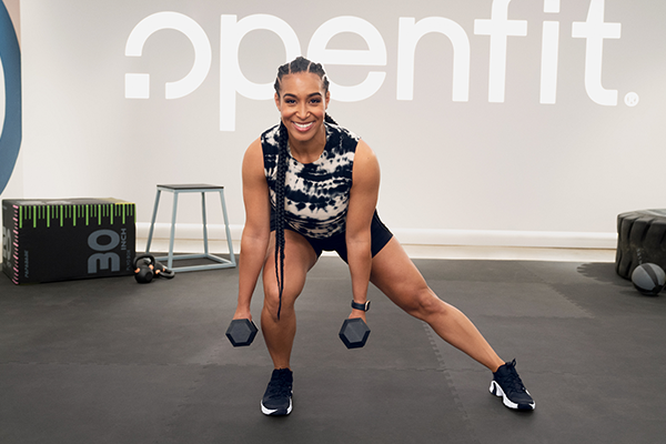lita lewis - openfit - dumbbell lunge