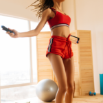 woman using cordless jump rope at home   best cordless jump ropes