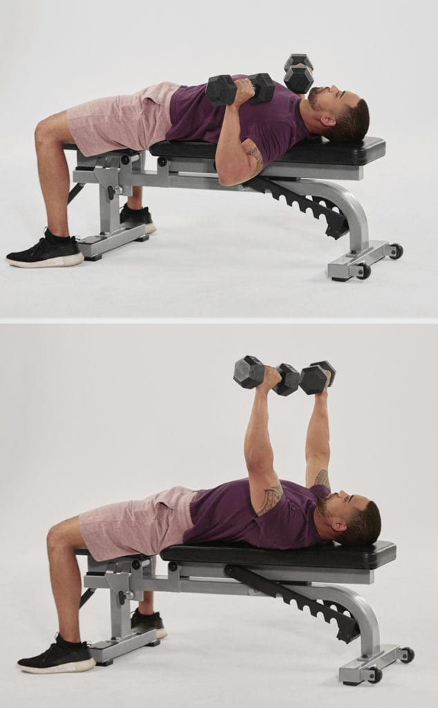 dumbbell bench press lateral raise demonstration | hourglass figure