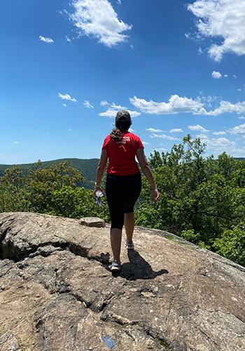 backview of emily hiking