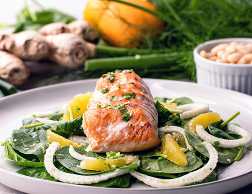 sesame salmon with fennel and orange salad   healthy blackstone griddle recipes