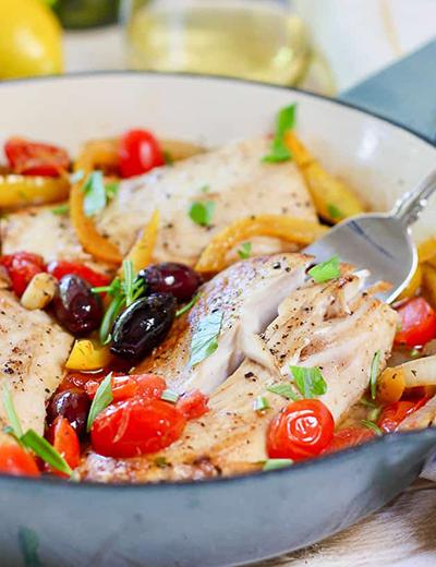 mediterranean fish skillet   healthy blackstone griddle recipes