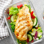 chicken breast with salad in tupperware | high protein low calorie foods