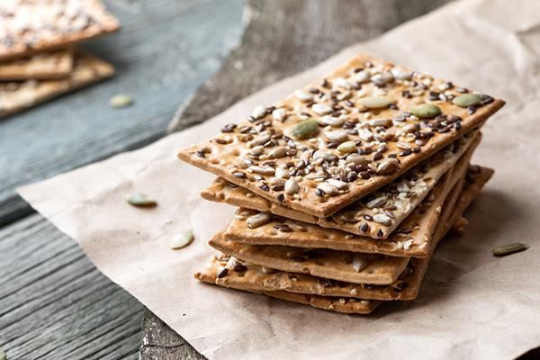crispbread cracker on parchment paper | low calorie snacks