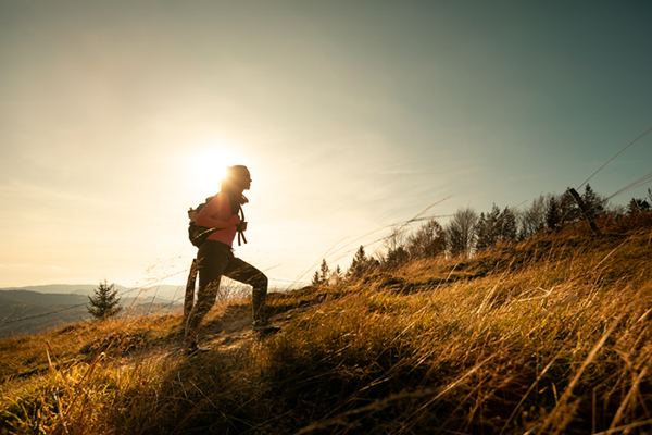 hiking up a hill | how to get started with fitness