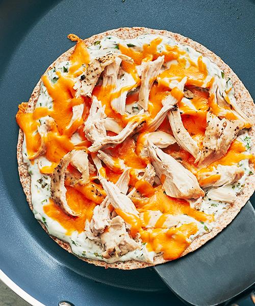chicken quesadilla on pan | chicken quesadilla