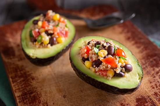 rice medley in half of avocado | how to not be hungry and lose weight