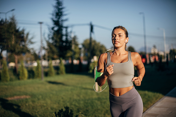 woman running in neighborhood