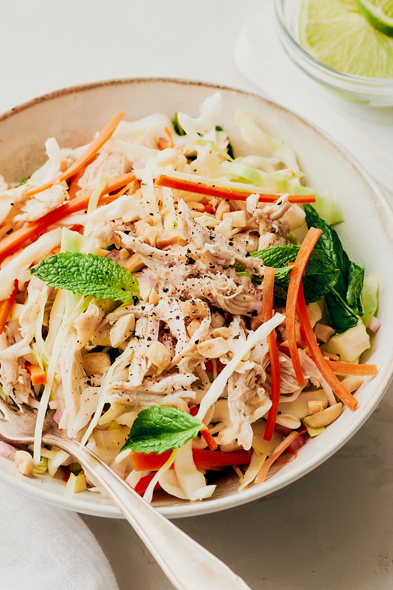 finished bowl of vietnamese chicken salad | vietnamese chicken salad