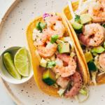 top view of plated shrimp tacos | shrimp tacos