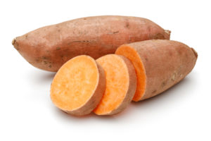 sliced raw sweet potato--what to eat to lose weight