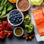 healthy foods on a table including berries, salmon, leafy greens--what to eat to lose weight