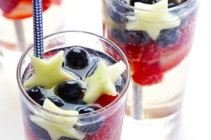 sparkling blue, red, and white sangria--4th of July drinks