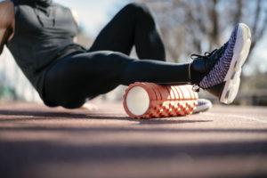 foam rolling after a jog--running motivation