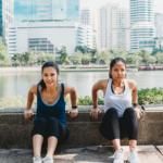 women exercising outside -- exercises without equipment