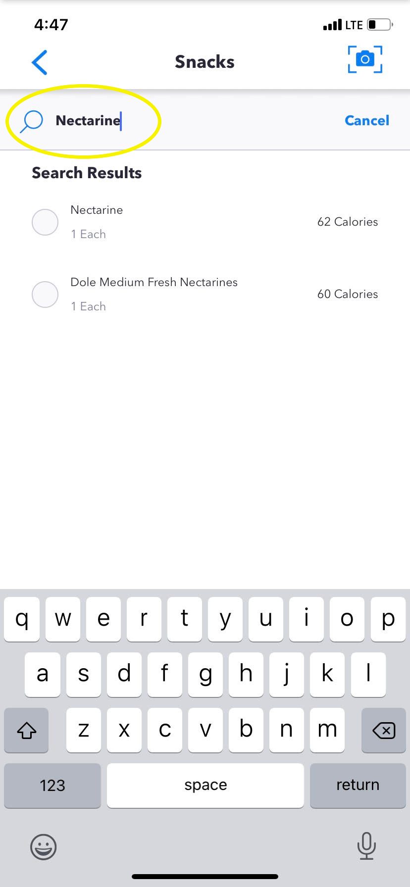 search manually -- meal scan