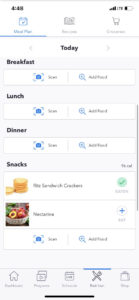 save meal and log -- meal scan