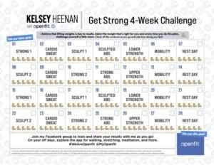 Kelsey Heenan workout calendar