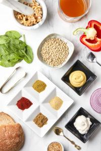 ingredients -- vegan lentil burger