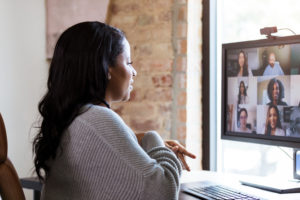 woman on Zoom meeting -- how to avoid burnout